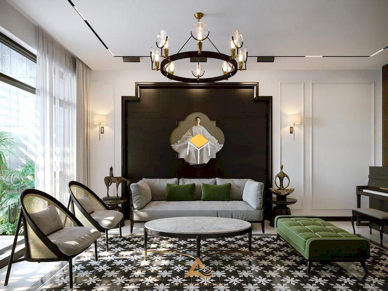 Sofa phong cách Indochine tinh tế tự nhiên