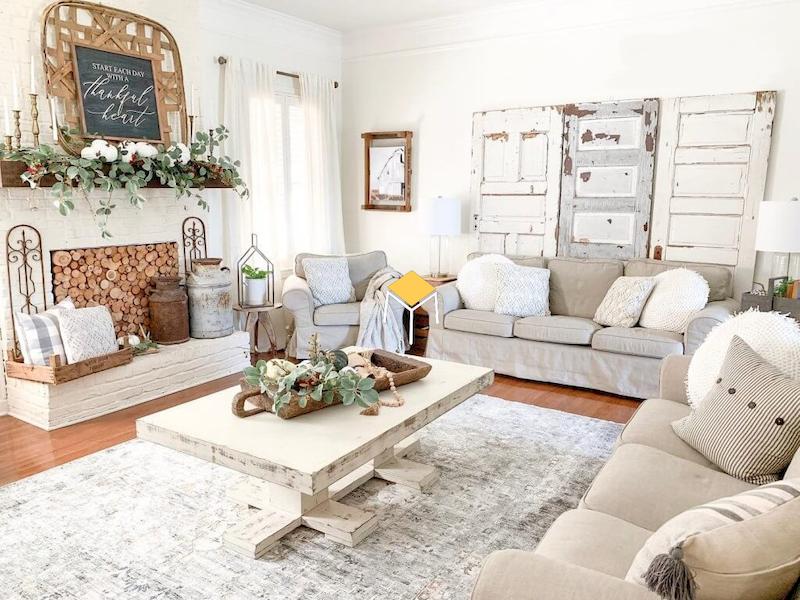 Ghế sofa phong cách vintage chất liệu vải, nỉ