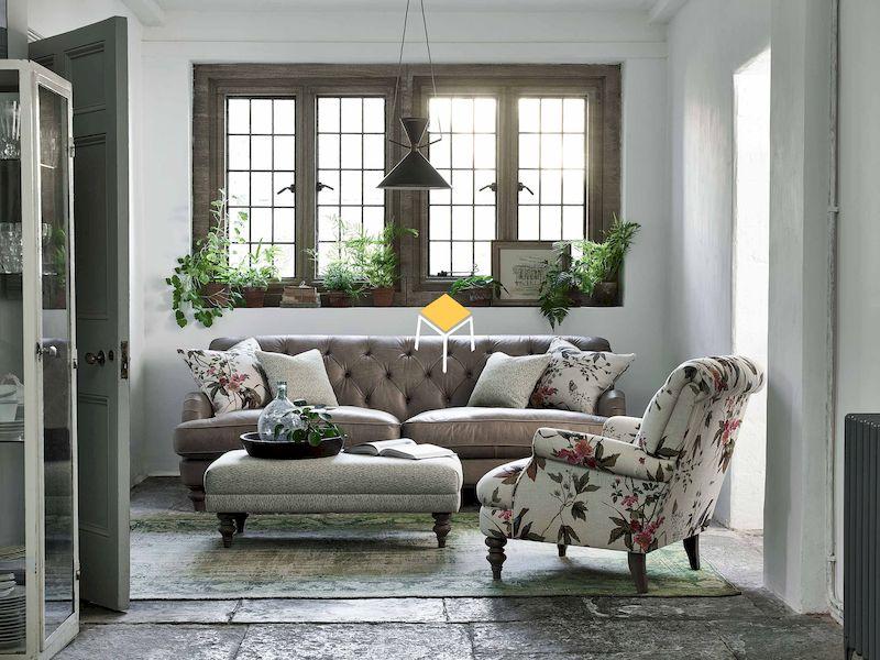 Sofa phong cách retro chất liệu da, nỉ, vải