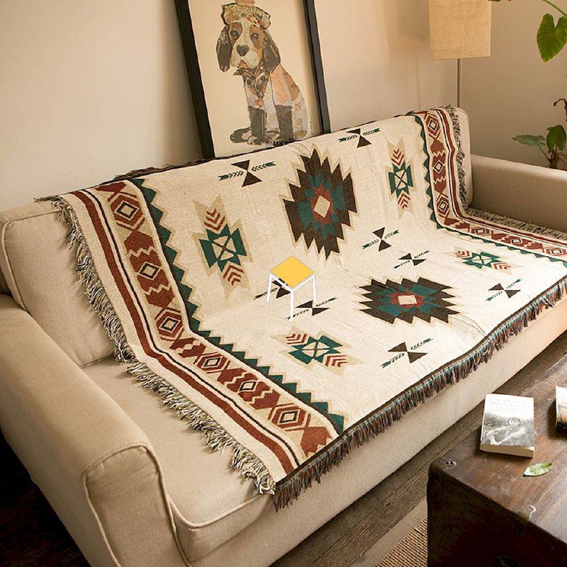 Sofa kết hợp chăn thổ cẩm đẹp