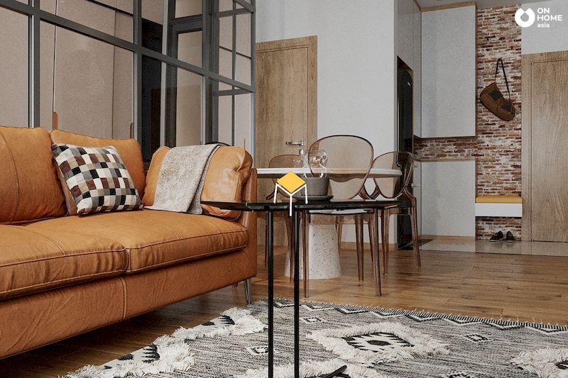 Nội thất phòng khách phong cách retro đẹp, đơn giản