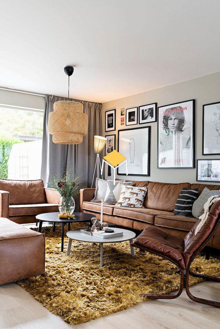 Bộ bàn ghế sofa phong cách retro và trang trí tường phong cách retro