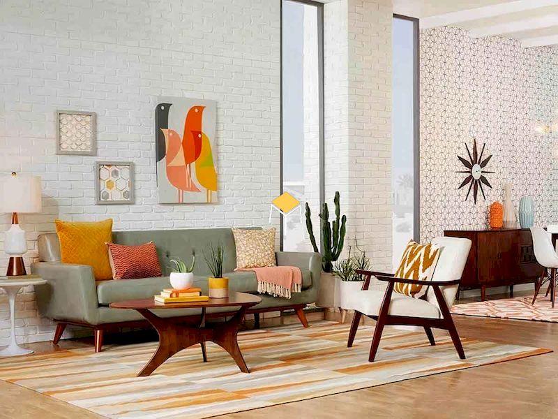 Sofa phong cách retro dáng dài kết hợp sofa đơn