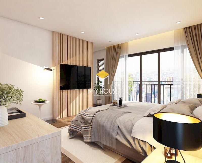 Thiết kế nội thất biệt thự liền kề Eden Rose - phòng ngủ gỗ tự nhiên