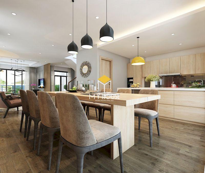 Thiết kế nội thất biệt thự liền kề Eden Rose - chất liệu gỗ sồi bền và có màu sắc tươi sáng