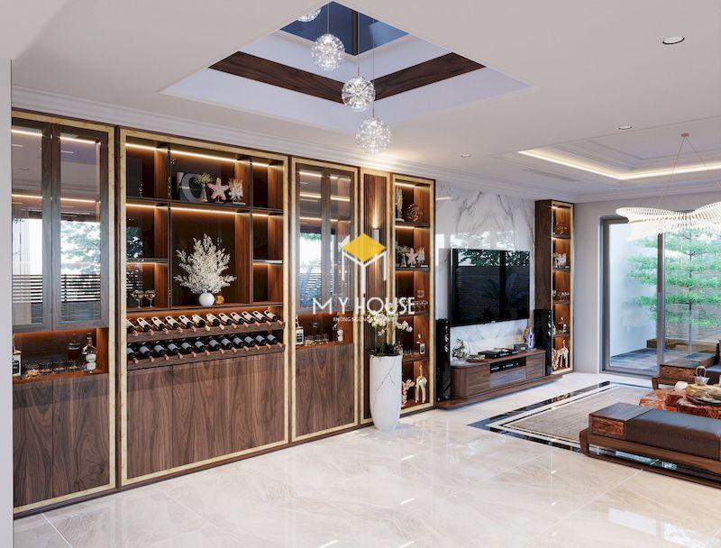 Thiết kế nội thất biệt thự liền kề The Mansions Park City - tủ rượu phòng khách