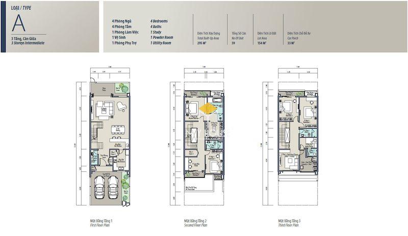 Mặt bằng thiết kế nội thất biệt thự liền kề The Mansions Park City