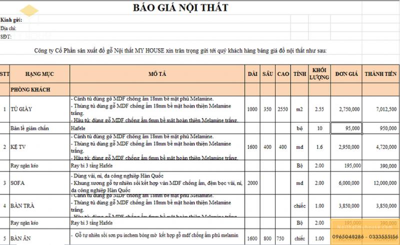 Báo giá thiết kế nội thất chung cư HDI 68A Võ Chí Công