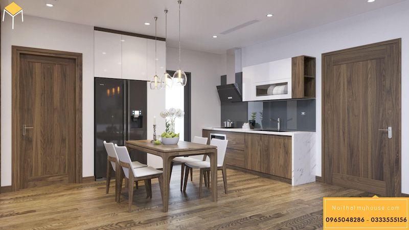 Thiết kế nội thất chung cư HDI 68A Võ Chí Công gỗ công nghiệp