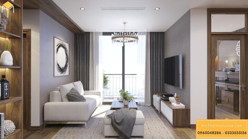 Thiết kế nội thất chung cư HDI 68A Võ Chí Công 2 ngủ 70m2 - phòng khách 1