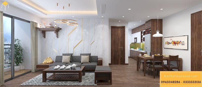 Thiết kế nội thất chung cư HDI 68A Võ Chí Công 3 ngủ - phòng khách 1