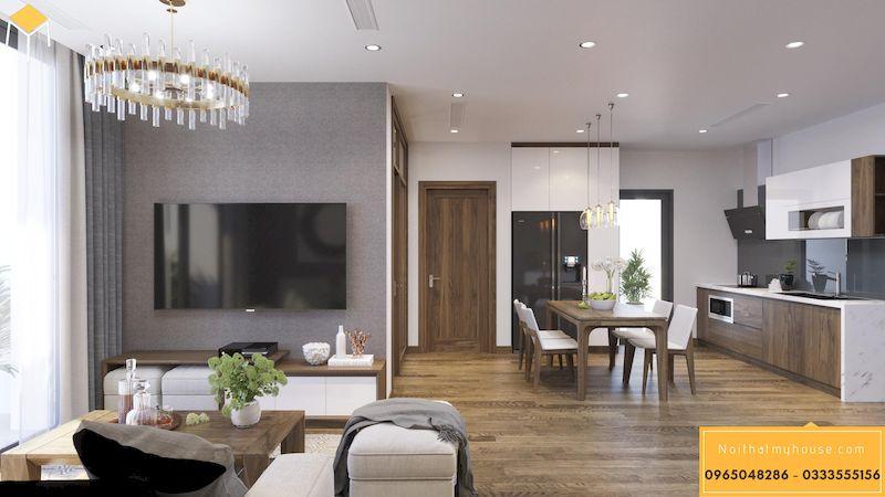 Thiết kế nội thất chung cư HDI 68A Võ Chí Công - phòng khách bếp liên thông