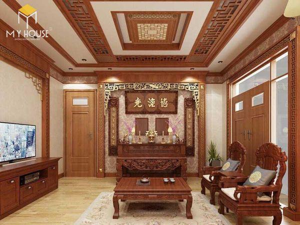 Thiết kế phòng khách nhà ống có bàn thờ gỗ tự nhiên