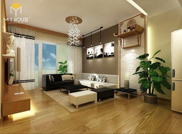 Thiết kế phòng khách nhà ống có bàn thờ cho chung cư