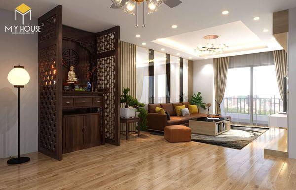 Thiết kế phòng khách nhà ống có bàn thờ đứng
