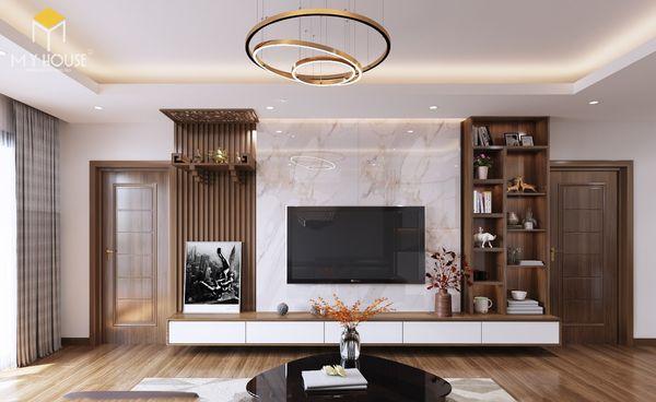 Thiết kế phòng khách nhà ống có bàn thờ treo tường gỗ óc chó