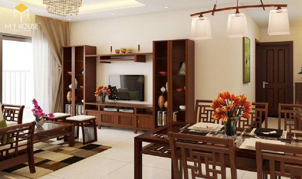 Thiết kế phòng khách nhà ống với bàn thờ treo tường