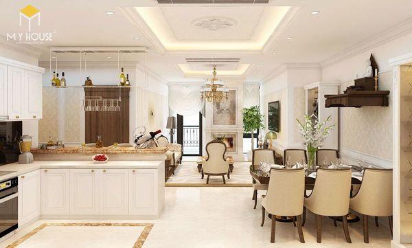 Mẫu thiết kế phòng khách nhà ống có bàn thờ treo tường
