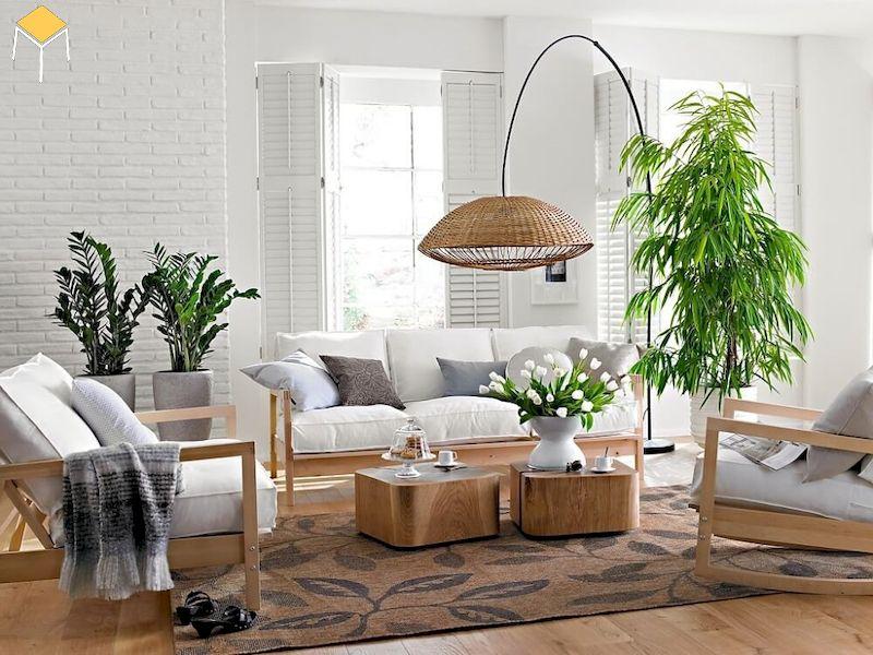 Trang trí phòng khách chung cư với tone màu trắng