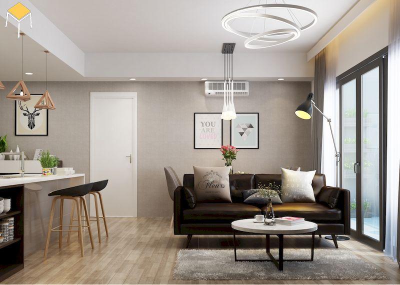 Trang trí phòng khách liên thông bếp chung cư