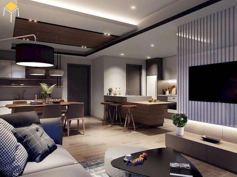 Trang trí phòng khách chung cư 60m2