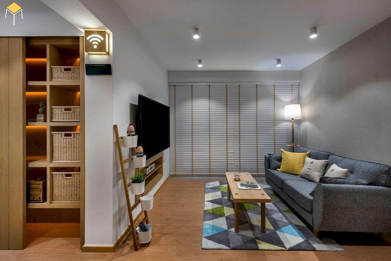 Trang trí phòng khách chung cư gỗ công nghiệp