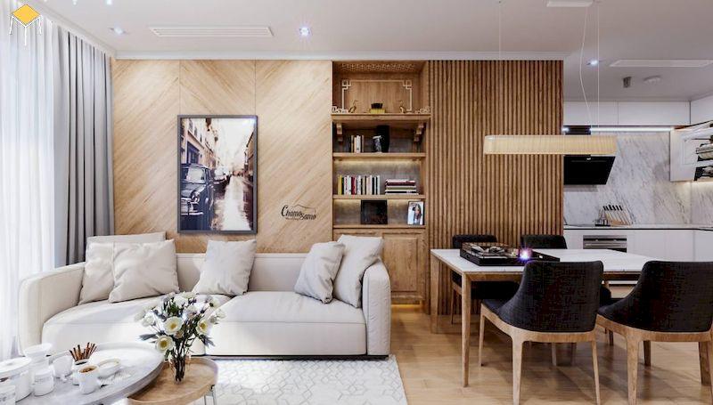 Trang trí phòng khách chung cư gỗ tự nhiên