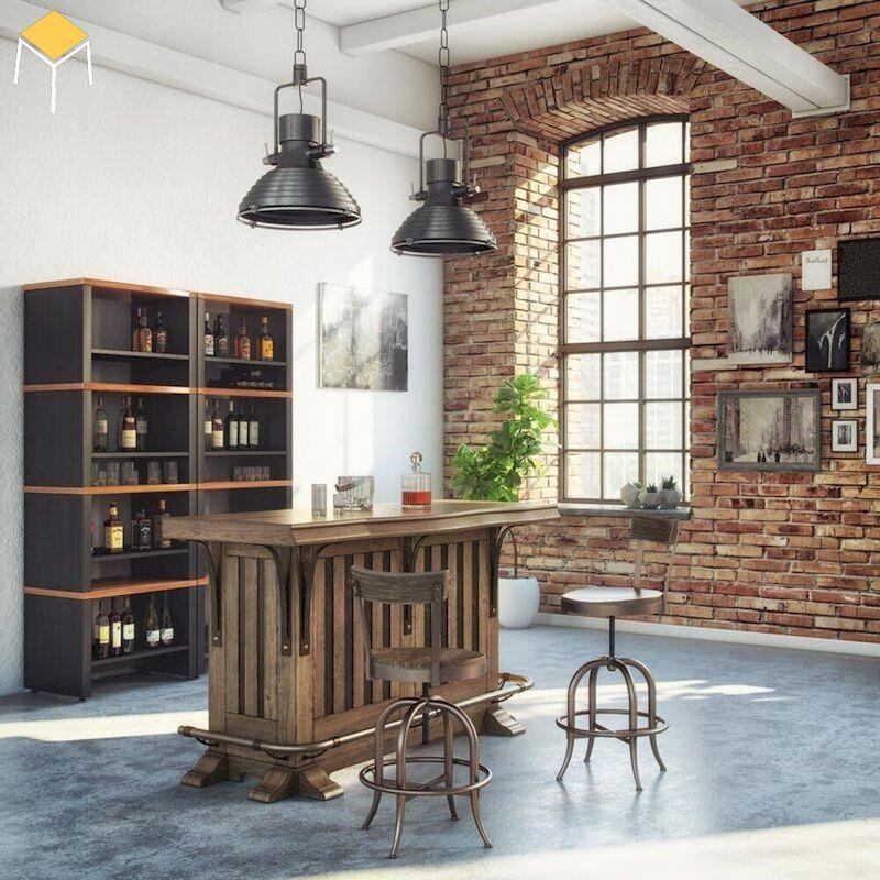 Tủ rượu quầy bar mini gỗ tự nhiên