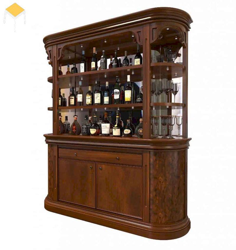 Tủ rượu tân cổ điển gỗ tự nhiên
