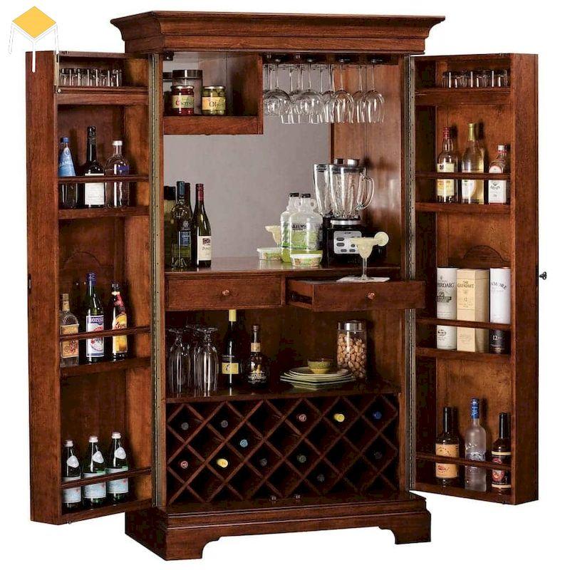 Mẫu tủ rượu tân cổ điển thấp cho phòng khách bếp