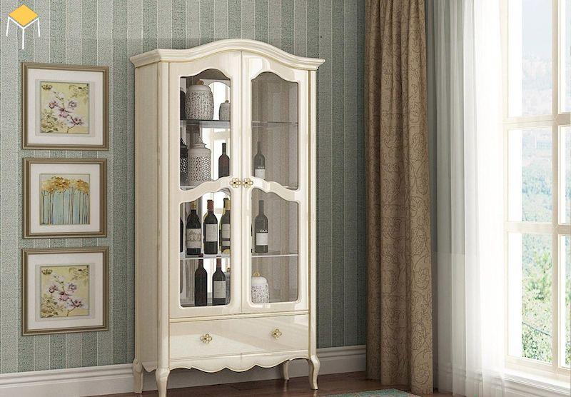 Mẫu tủ rượu tân cổ điển phòng khách nhỏ gọn