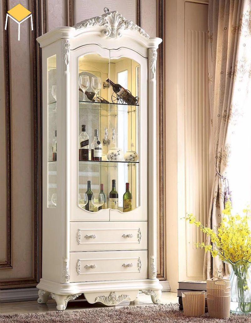 Mẫu tủ rượu tân cổ điển phòng khách sơn màu trắng kem sang trọng