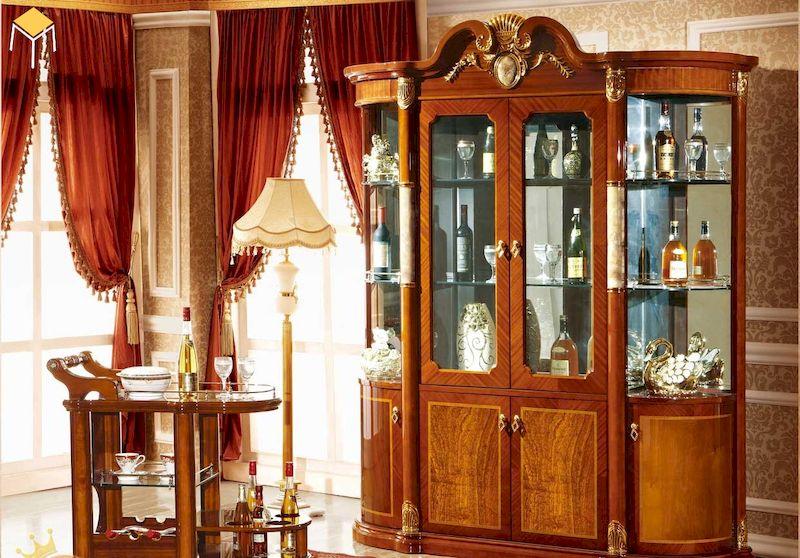 Mẫu tủ rượu tân cổ điển gỗ tự nhiên cao cấp