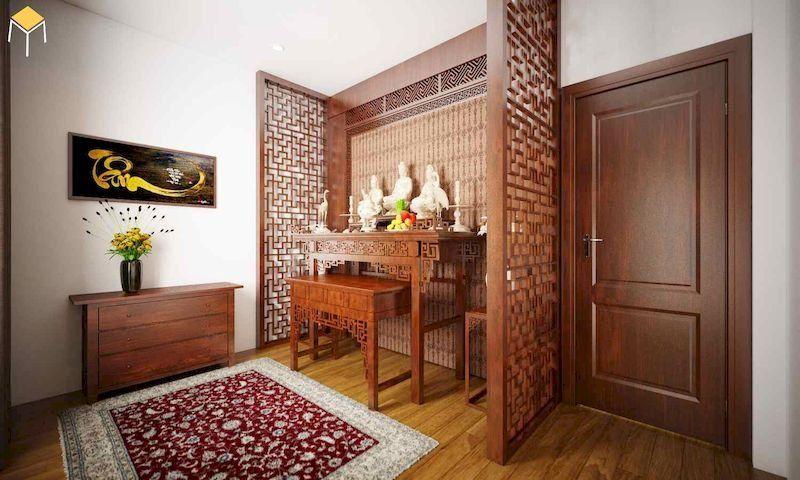 Mẫu vách ngăn bàn thờ cho phòng khách chung cư đẹp