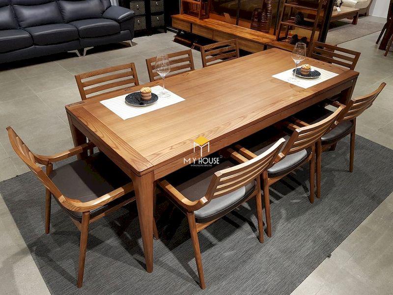 Mẫu bàn ăn gỗ óc chó 8 ghế