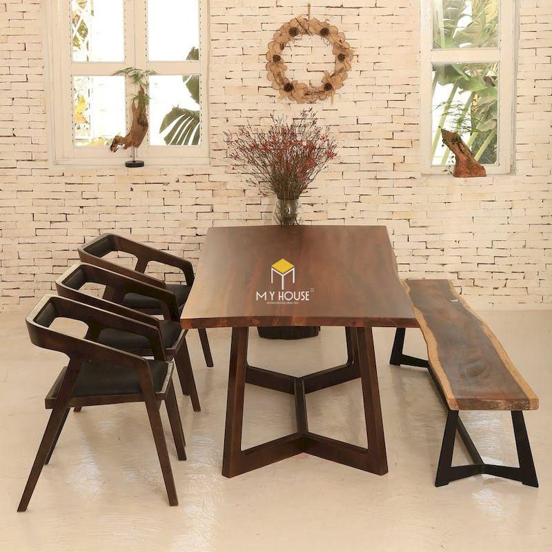 Thiết kế bàn ăn gỗ óc chó đẹp