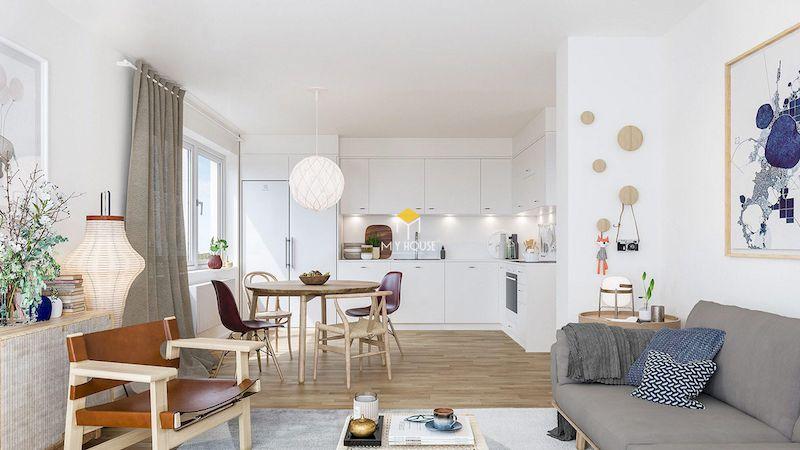 Mẫu nội thất chung cư phong cách Bắc Âu hiện đại, thông thoáng