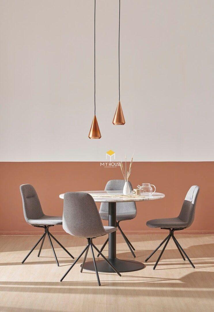 Mẫu bàn ăn 4 ghế gỗ công nghiệp dạng tròn