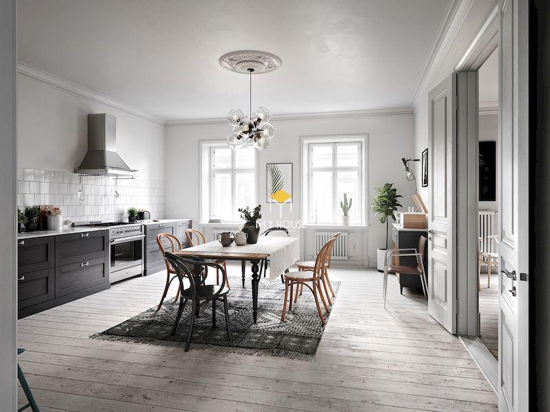 Nội thất phòng bếp theo phong cách Bắc Âu