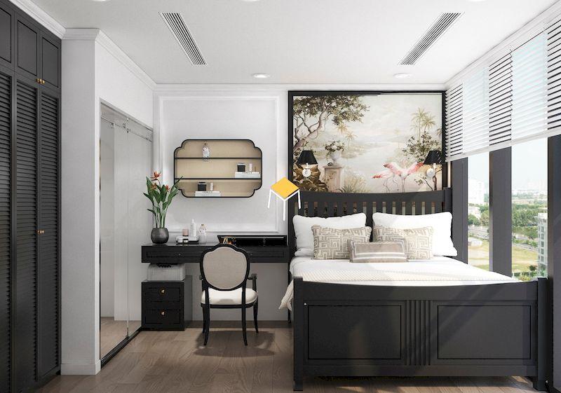 Giường ngủ phong cách Indochine gỗ tự nhiên
