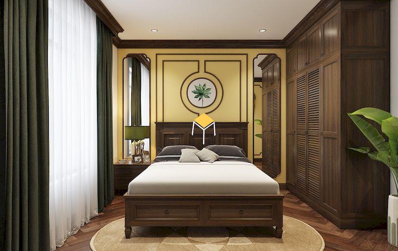 Nội thất phong cách indochine với giường ngủ gỗ óc chó