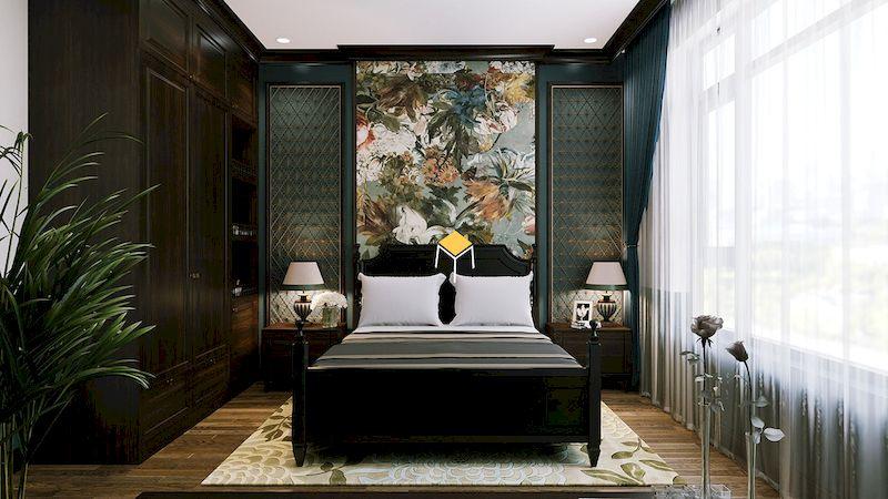 Màu sắc và hoa văn trong nội thất phòng ngủ indochine
