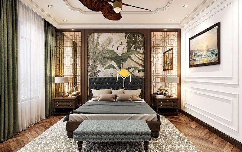 giường ngủ phong cách indochine theo hướng kiến trúc châu Âu