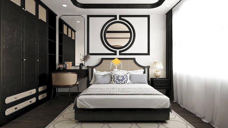 giường ngủ phong cách indochine đơn giản
