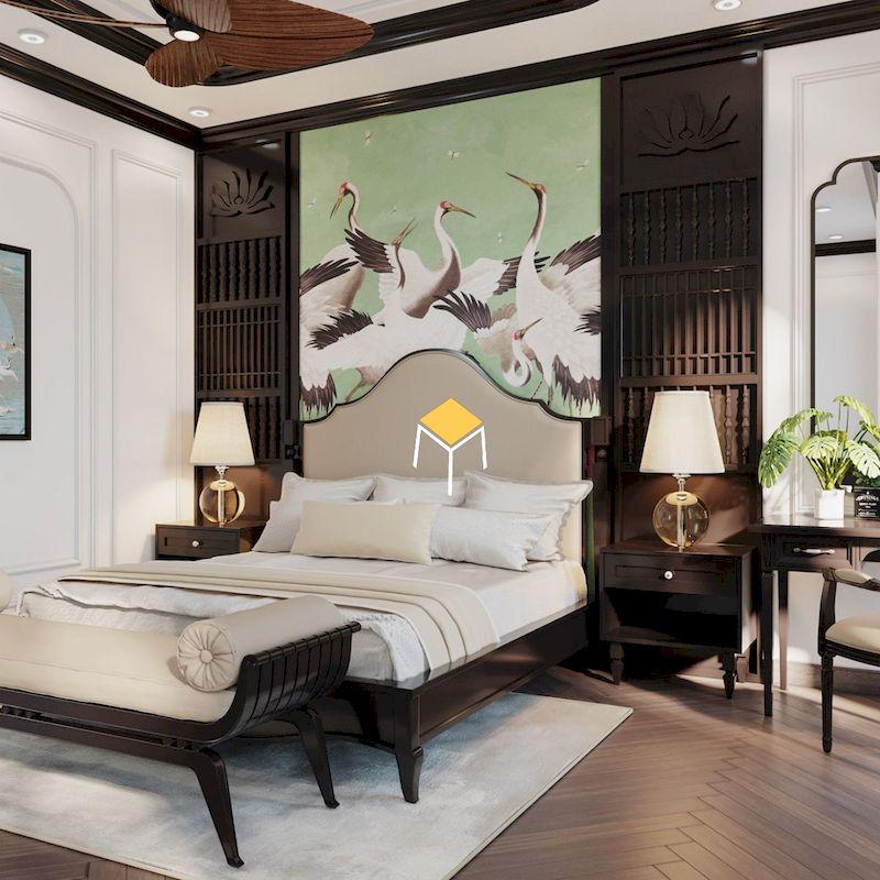 giường ngủ phong cách indochine