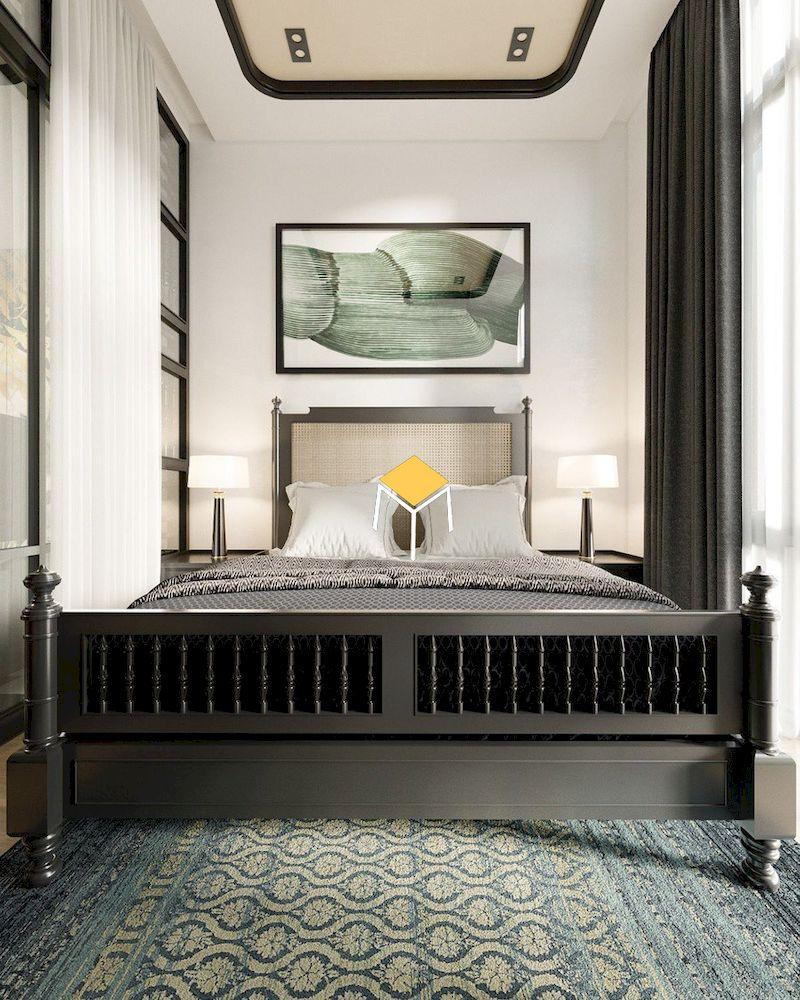 Phòng ngủ nhỏ hẹp phong cách indochine