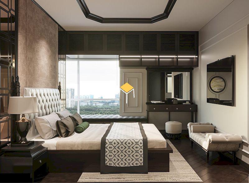 Phòng ngủ phong cách indochine tân cổ điển