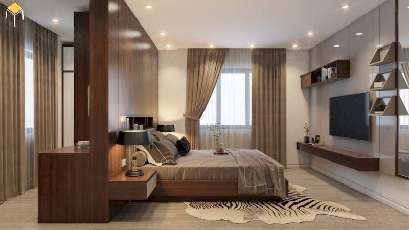 Phòng ngủ master nội thất gỗ veneer óc chó