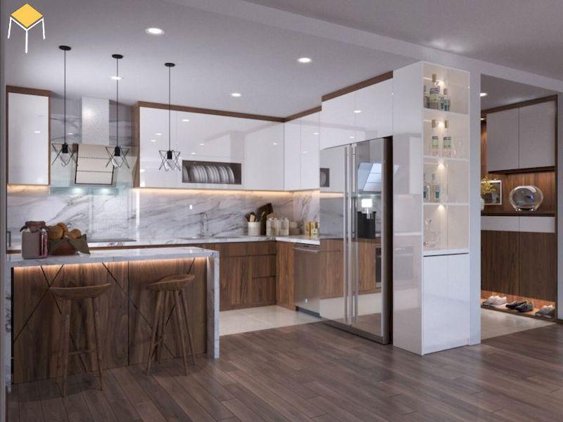 Phòng bếp nội thất gỗ veneer óc chó