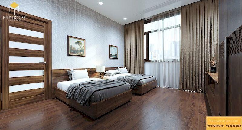 Phòng ngủ nội thất gỗ veneer óc chó